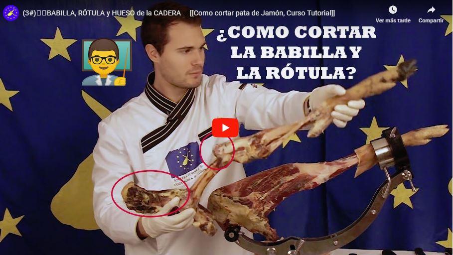 ▷¿Cómo cortar la babilla del jamón SIN quitar la RÓTULA? ✅ Cursos a nivel Nacional e Internacional de la Escuela Europea de Cortadores de Jamón